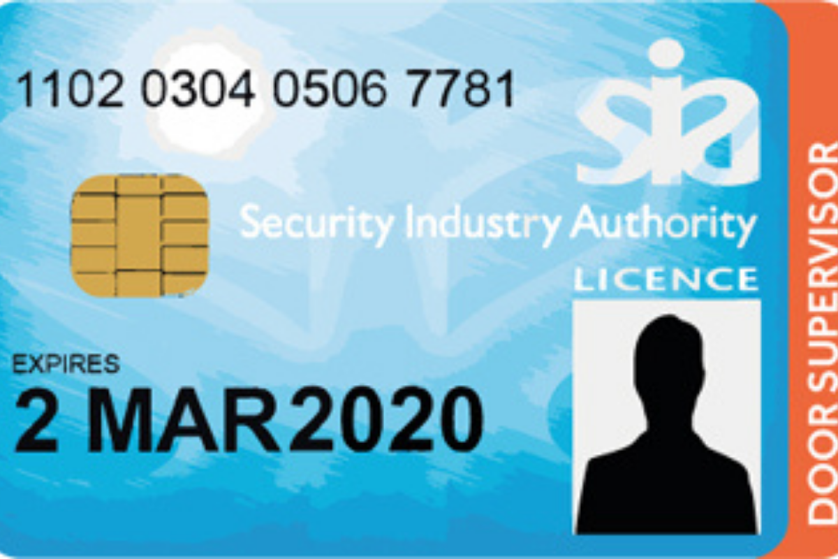 a blue security license with an anonymous silhouette replacing the ID photo