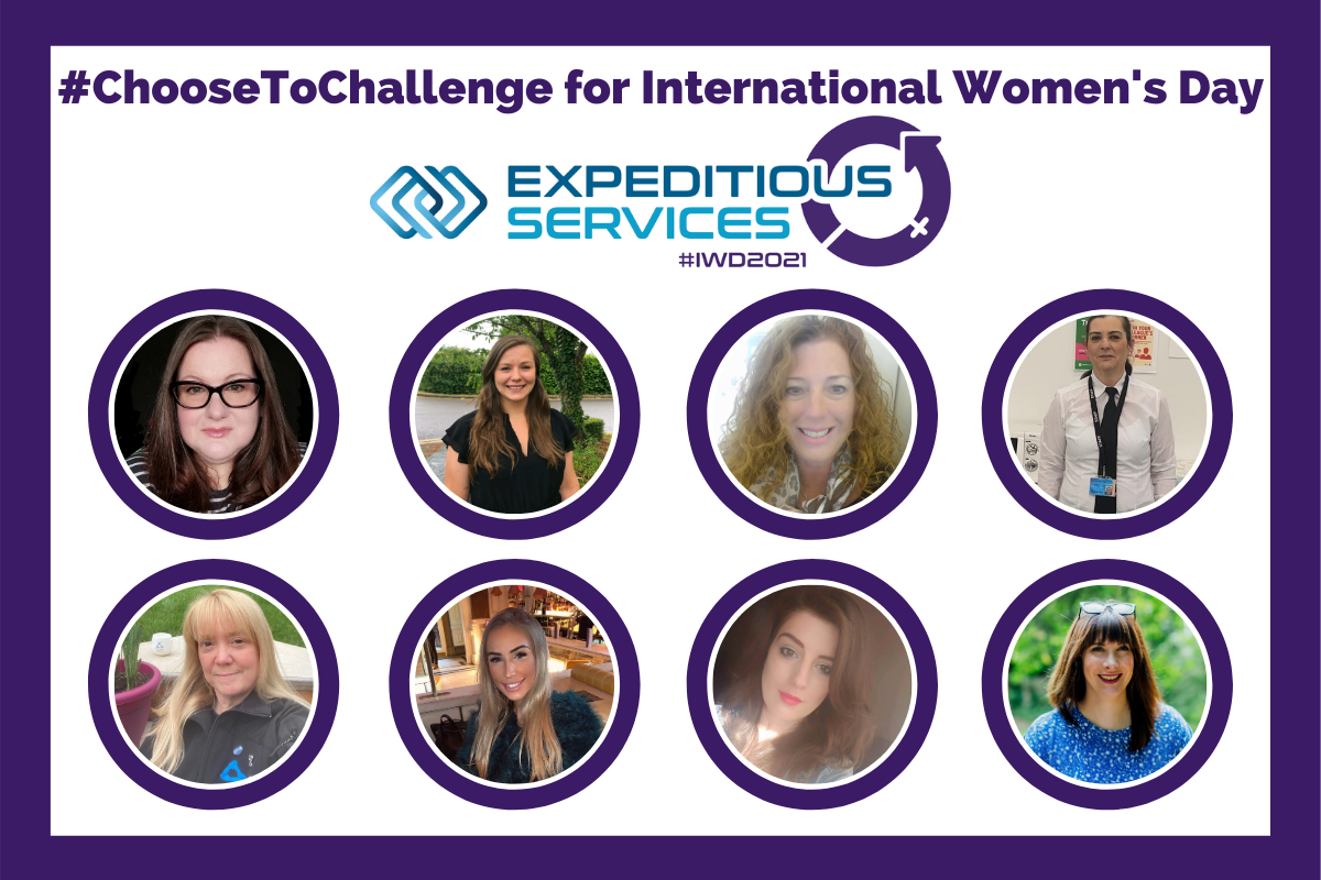 text #ChooseToChallenge for International Womens Day. With a themed version of the Expeditious Services logo. Below 8 circles in 2 rows of 4 with the faces of team members - Rachel Freeman, Liberty Glennon, Julie Hulme, Alexandra Shafqat, Emma Woodhouse, Akasha Roth, Elizabeth Smith and Jen Eastwood