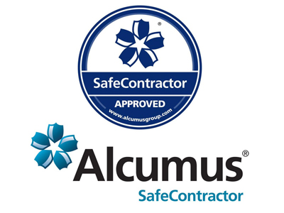 the safecontractor stamp of approval and alcumus logo