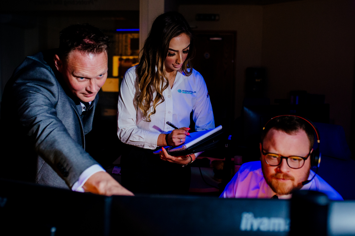 Service Excellence Director, Jason Pope, Senior Operations Coordinator, Akasha Roth, and CCHD Operator, Forrest Moore collaborate on managing a client account.